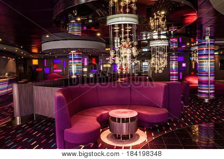 Сruise liner Costa - May 1, 2017: Bar interior on cruise liner Costa.
