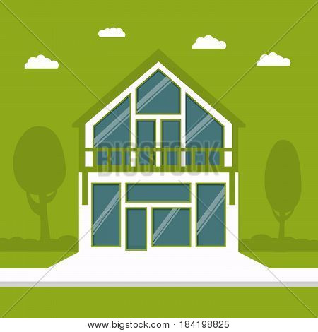 Country cottage in flat style a vector  on a green background . Eco-friendly House of the future. A townhouse in Eco style for protection of the nature.