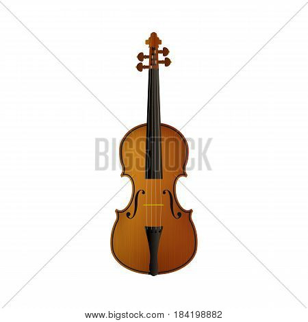 Realistic violin isolated white background Vector illustration. Eps 10.