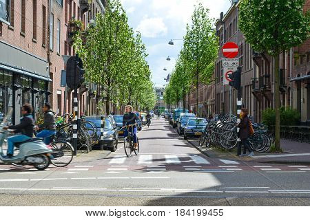 Amsterdam, Netherlands - Circa April 2017: Streets of Amsterdam. Bike on Amsterdam