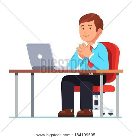 Executive manager, CEO, boss sitting at desk with laptop computer holding hands together in raised steeple gesture of confidence. Modern flat style vector illustration isolated on white background.