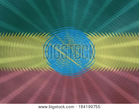 Ethiopia flag background with ripples and rays illustration