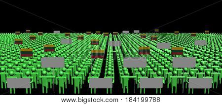 Crowd of people with signs and Lithuanian flags 3d illustration