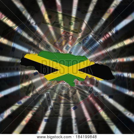 Jamaica map flag on currency burst 3d illustration
