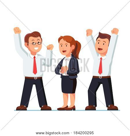 Business man and woman executives celebrating success shouting and making winner, yes gestures raising hands with clenched fists up over heads. Achievers team. Flat style vector illustration.