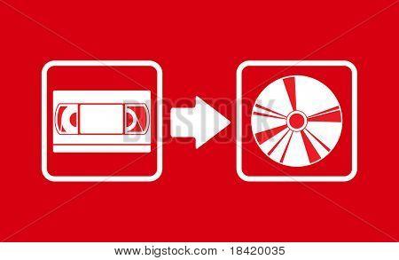 Vector illustration of vhs to cd transfer
