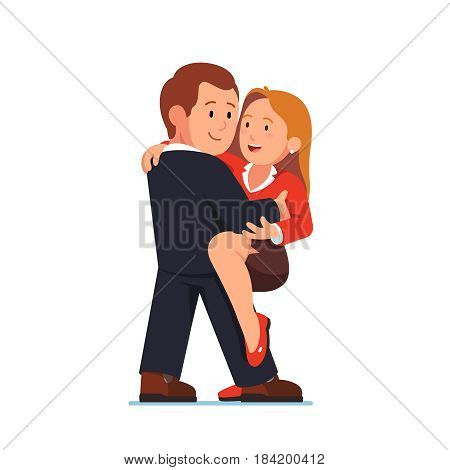 Business people man and woman embracing in love dance. Young flirting managers making swift tango or salsa moves together. Modern flat style vector illustration isolated on white background.