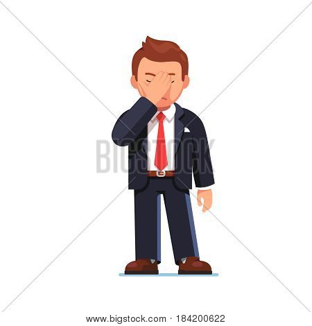 Disappointed and tired businessman covering eyes with hand showing facepalm gesture. Office worker manager feeling stress, shame. Flat style modern vector illustration isolated on white background.