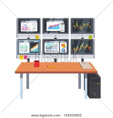 Desk, computer screen panel. Monitoring statistical sell data, financial market graphic, candlestick chart, stock. Business concept. Flat style modern vector illustration isolated on white background.