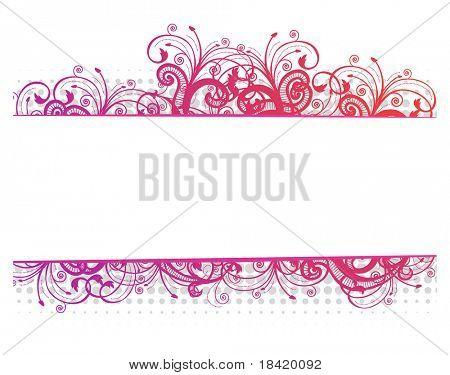 Vector illustration of a floral pink border