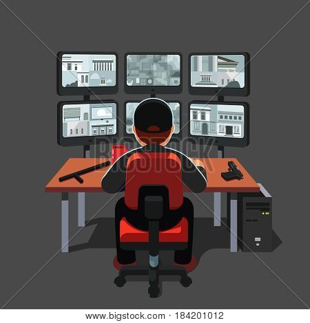Black uniform watchman or guard man sitting at security room monitoring video on many computer screens. CCTV system concept. Flat style modern vector illustration isolated on white background.