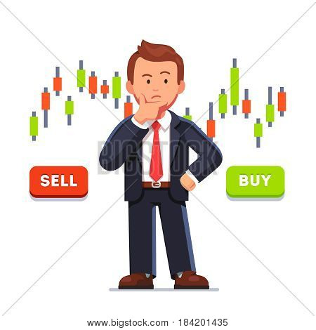 Doubtful stock exchange market trader holding hand on chin analyzing index candlestick graph deciding to buy or sell shares or equity. Financial market business man. Flat style vector illustration.