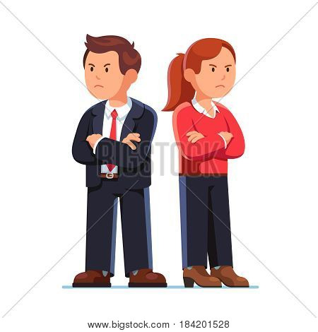 Angry man and woman turning away from each other crossing their arms. Standing back to back after argument. Romantic relationships problem. Divorce breakup concept. Flat style vector illustration.