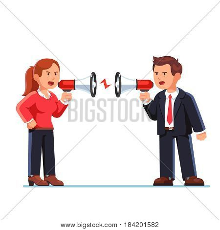 Business man and woman shouting at each other through megaphone and arguing. Work conflict between opponents or office workers. Flat style modern vector illustration isolated on white background.