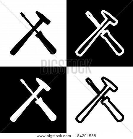 Tools sign illustration. Vector. Black and white icons and line icon on chess board.
