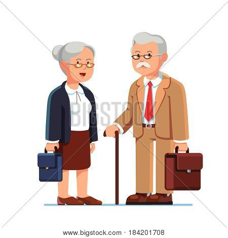 Old business man and woman standing together with their suitcases. Aged grey haired office workers. Elderly people being retired. Flat style modern vector illustration isolated on white background.