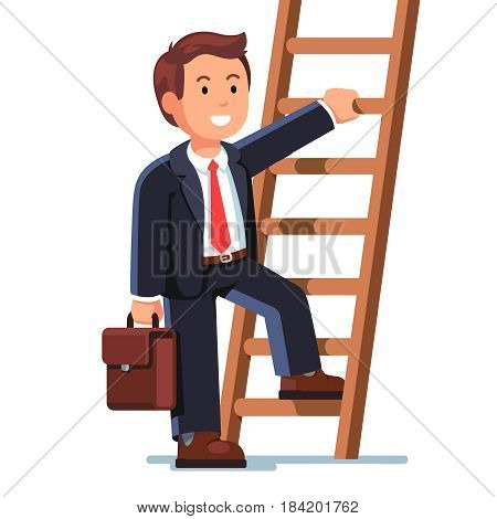 Smiling businessman climbing up the career ladder. Successful business development. Professional growth and promotion concept. Flat style modern vector illustration isolated on white background.