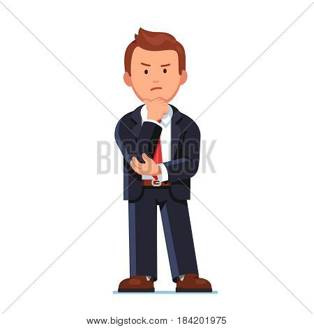 Serious business man in black suit standing with angry face. Office worker or boss knitting brows and holding hand on chin doubting. Flat style modern vector illustration isolated on white background.