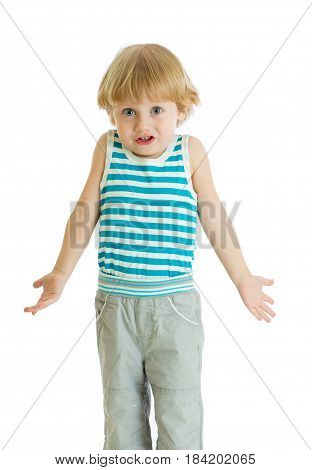 Shrugging child. Kid boy looks puzzled, isolated on white background