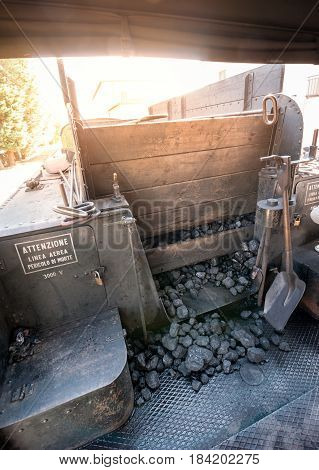 The charcoal provision for locomotive steam boiler