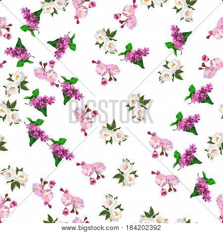 Very high quality original trendy realistic vector seamless pattern with rose bush or bouquet of roses, plum flower and lilac flower. Spring or summer design