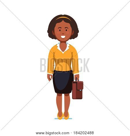 Afro american business woman standing with suitcase in hands. Full-length portrait of young office worker. Flat style modern vector illustration isolated on white background.