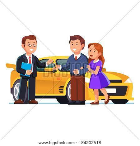 Young couple buying or renting yellow sports car. Salesman selling auto and giving keys to happy family. Man and woman standing next to new auto. New purchase concept. Flat style vector illustration.