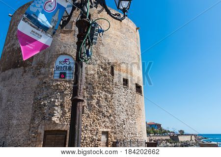 Alghero Italy - April 29 2017: Giro d'Italia banner in the seafront