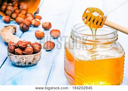Hazelnuts in shell scattered on blue plank table. Shelled nuts in wooden spoon. Honey jar with dipper next to the nuts