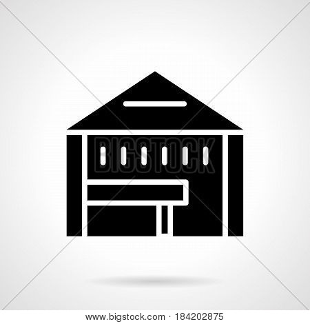 Abstract monochrome symbol of tent shop with table. Constructions for fair, commercial event, exhibition. Symbolic black glyph style vector icon.
