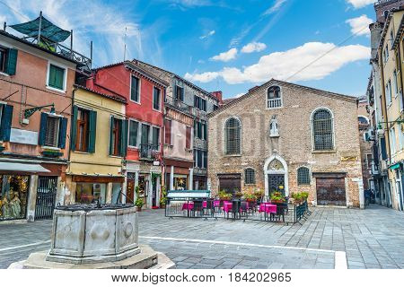 Campo San Toma in Venice on a cloudy day