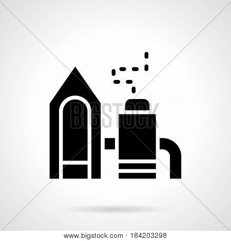 Abstract monochrome symbol of chemical waste processing plant. Industrial architecture and buildings. Symbolic black glyph style vector icon.