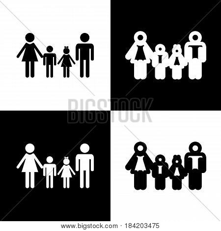 Family sign. Vector. Black and white icons and line icon on chess board.