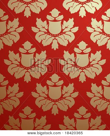 Vector seamless gold and red pattern