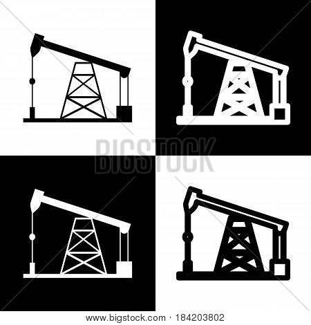 Oil drilling rig sign. Vector. Black and white icons and line icon on chess board.