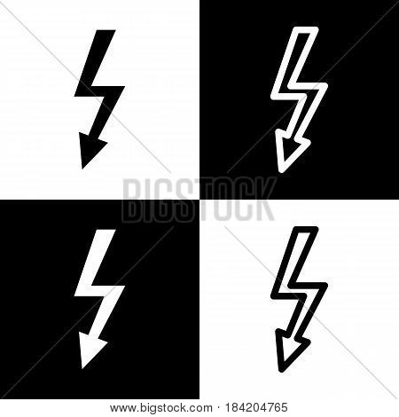 High voltage danger sign. Vector. Black and white icons and line icon on chess board.
