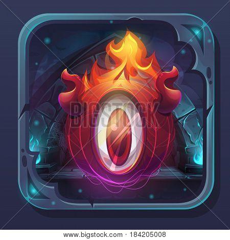 Monster battle GUI icon - cartoon stylized vector illustration eldiablo flame.