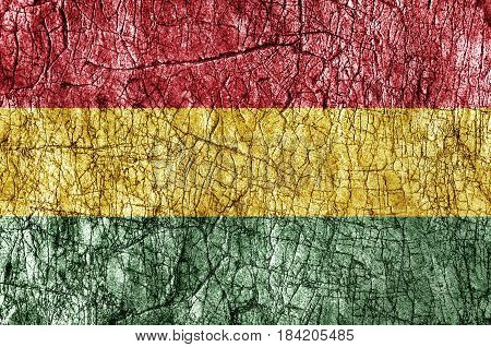 Grudge stone painted Bolivia flag background close
