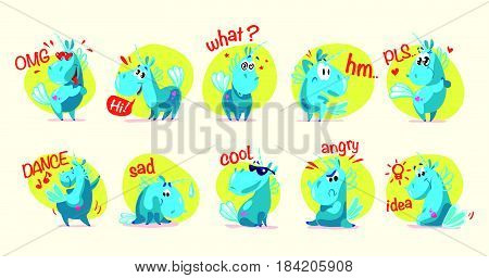 Vector collection of flat funny unicorns isolated on white background. Cartoon style. Set of emoji smile. Facial expressions and emotions. Fairy pink animal horse. Children illustration.