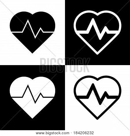 Heartbeat sign illustration. Vector. Black and white icons and line icon on chess board.