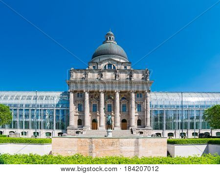 Munich, Germany - June 7, 2016: Bayerische Staatskanzlei - Bavarian State Chancellery is the name of a state agency of the German Free State of Bavaria and also of the appendant building.