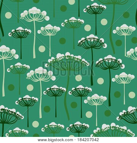 Seamless pattern with umbelliferous plants, angelica. Summer background. Vector illustration.