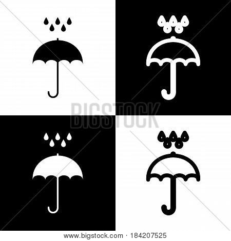 Umbrella with water drops. Rain protection symbol. Flat design style. Vector. Black and white icons and line icon on chess board.
