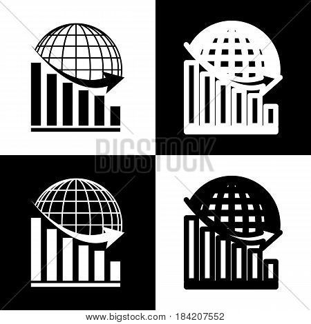 Declining graph with earth. Vector. Black and white icons and line icon on chess board.