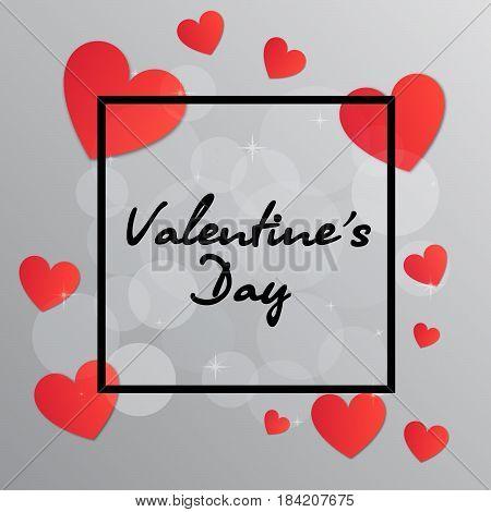 Valentine's Day black frame with hearts, Greeting card design. Celebration concept.