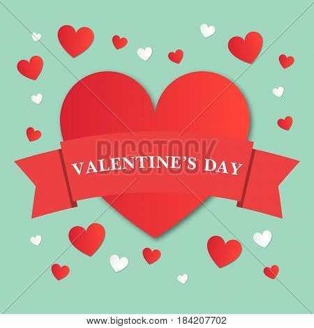 Valentine's Day vector illustration with hearts.Greeting card design. Celebration concept.