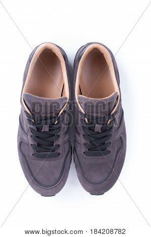 Top View On Suede Sneakers Isolated On White Background