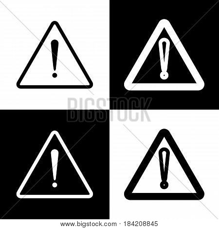 Exclamation danger sign. Flat style. Vector. Black and white icons and line icon on chess board.