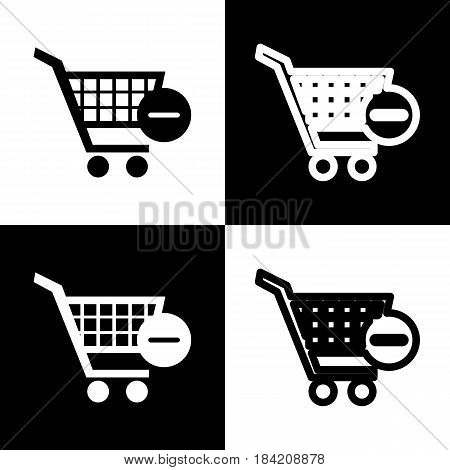 Vector Shopping Cart with Remove sign. Vector. Black and white icons and line icon on chess board.