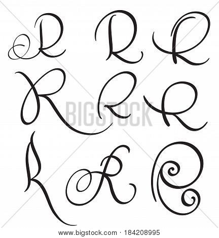 set of art calligraphy letter R with flourish of vintage decorative whorls. Vector illustration EPS10.